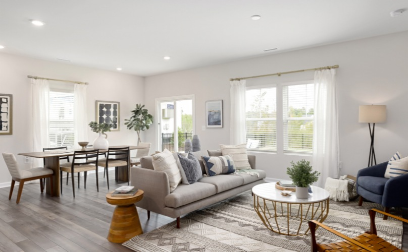 Open Living room with dining space