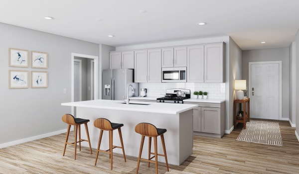 rendering of well lit kitchen